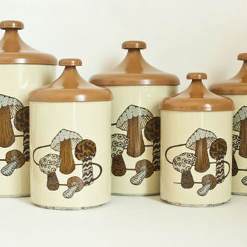 Vintage 1970s Lincoln Beautyware Mushroom Canisters, Toadstool Hippie Print Sugar Flour Coffee Tea Canister Set, Made in USA