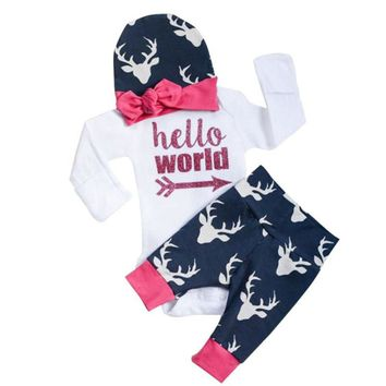 Baby Boys Girls Clothes Bebe Clothing Set Lovely Letter Print Rompers Shirts + Deer Leggings Pants