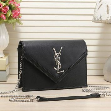 YSL Women Leather Chain Satchel Shoulder Bag Crossbody