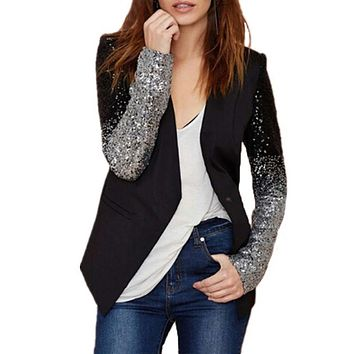 Women Sequined Long Sleeved Blazer - Plus Size S-4XL ( china sizing)