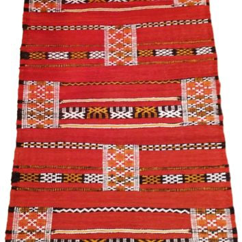 Moroccan Flat Weave Kilim Rug - Hand Woven Zemmour in Red Wool - 42 x 24.5 inches