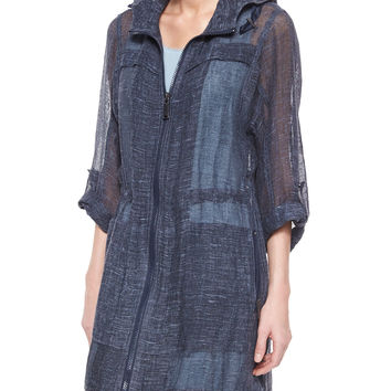 Women's Molly Sheer Linen Long Coat - Elie Tahari - Navy (MEDIUM)