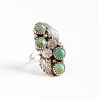Vintage Sterling Silver Green Turquoise Ring - Size 8 Retro Southwestern Signed Navajo Native American Raymond Delgarito Flower Jewelry