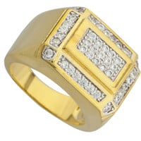 Men's Goldtone Iced Out Curved Layered Rectangle Ring Sizes 7-12