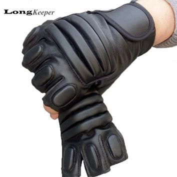 LongKeeper Classic Mens Gloves Semi Finger Leather Black Fingerless Mittens Men Fitness Tactical Latex Guantes Ciclismo