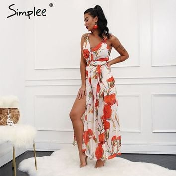 Simplee Sexy v neck backless rompers women Halter split floral print jumpsuits rompers Casual loose jumpsuit overalls 2018