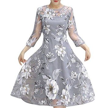 TOOPOOT Women's Vintage Floral Lace Wedding Party Hi-Lo Cocktail Formal Swing Dress