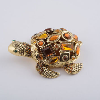 Golden Turtle Trinket Box Decorated with Big Yellow Swarovski Crystals Faberge Style Handmade by Keren Kopal
