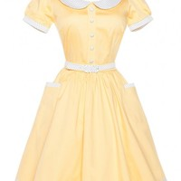 Dee Dee Dress in Pastel Yellow and White Pin Dots