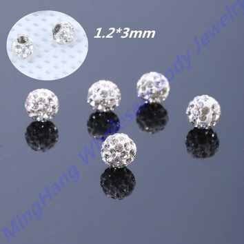 16g(1.2mm)*3mm Crystal Ball Labret Eyebrow Ring Ear Cartilage Helix Tragus Stud Replacement Piercing Jewelry