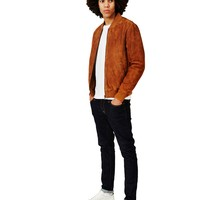 The Idle Man Suede Bomber Tan