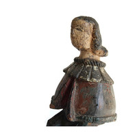 Folk Art Santos Figurine Antique Polychrome Primitive Latin American Hand Carved Wooden Statue Collectible Religious Relic Cultural Artifact
