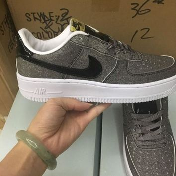 """NIKE""AIR Fashion Women Running Sport Casual Shoes Sneakers Shining gray black hook"