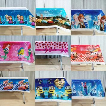 108x180cm/set Princess Minions Trolls Moana Mickey Minnie Cartoon Tablecloth Birthday Party Decorations Birthday Party Supplies