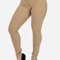 Beige Cotton High Waist Pants