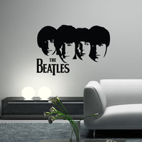 THE BEATLES Decal Wall Vinyl Art Guitar Silhouette Heads John Lennon, Paul McCartney, George Harrison, Ringo Starr