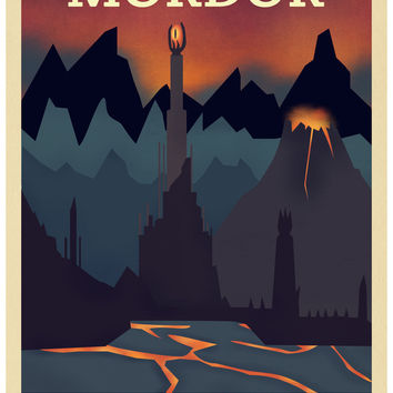 Retro Travel Poster Series - The Lord of the Rings - Mordor Art Print by Teacuppiranha