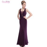 Ever Pretty Sexy Long Elegant Modest Lacey Neck Diamond Luxurious Slim Ruched Purple Formal Party Evening Gown Dress HE08006PP
