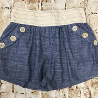 3 Button Chambray Shorts