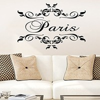 Wall Decal Paris City Vinyl Sticker Decals Art Decor Design France Country Europe Lettering Living Room Bedroom Dorm NS925 (16x23)