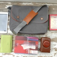 Supermarket: Grey Canvas Single Cotton Strap Messenger bag / Cross Body Messenger / School / Travel / Laptop bag from Ottobags