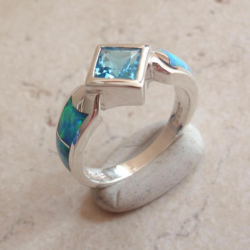 Swiss Blue Topaz Ring Lab Opal Sterling Silver Princess Cut Vintage 011816YU