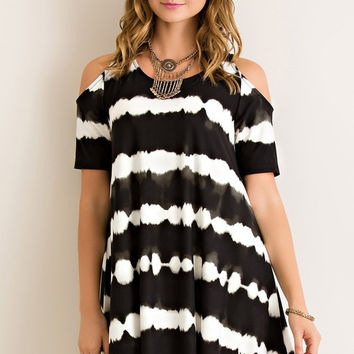 Tie Dye Cold Shoulder Dress - Black