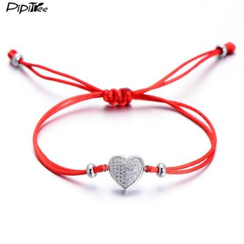 Pipitree Romantic CZ Stone Paved Love Heart Bracelet for Women Lovers Adjustable Red String Couple Bracelets Lucky Jewelry Gift