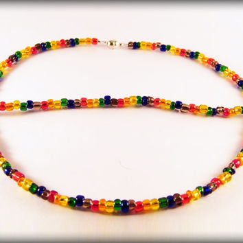 Rainbow Seed Bead necklace .. Gay Pride necklace with rainbow glass seed beads and a magnetic clasp.
