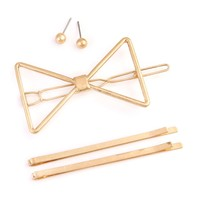 Brass Metal Hair Pin and Earring Set