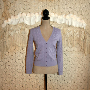 Pure Cashmere Sweater Lavender Cardigan Purple Cardigan Cable Knit Sweater Cashmere Cardigan Talbots Petite Clothing XS Small Women Clothing