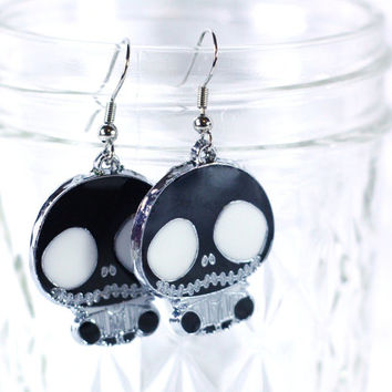 Black Nightmare before Christmas Enamel Charm Earrings / Cartoon Charms / Girls Earrings Jewelry Womens Earrings