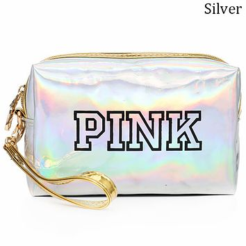 Victoria's Secret 2018 new laser clutch bag ladies small wallet reflective small square bag F0695-1 silver
