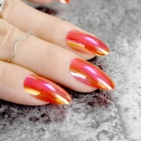 Stilettos Oval Sharp end Nails Chrome Chameleon Mirror Metallic False Nail Metal Shiny Red Fake Nails Acrylic Stiletto Nail Art