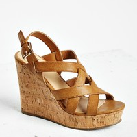 Faux Leather Cork Platform Wedge