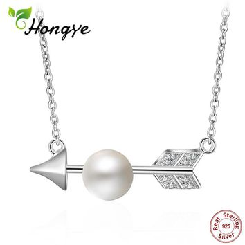 Hongye 925 Sterling Silver Cupid Arrow Real Freshwater Pearl Necklaces & Pendants Valentine's Day Gift Sterling-silver-jewelry