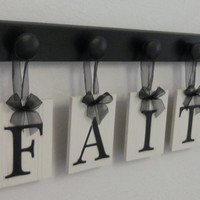 FAITH Home Decor Shabby Chic Sign Set Includes Matching 5 Hooks Black and White