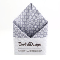 Ash Gray Pocket Handkerchief by BartekDesign white flowers