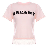 Peach Pink Dreamy Top with Lace Trim
