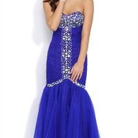 Strapless Long Prom Dress with Stone Details and Mermaid Skirt