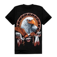 Zlyc Casual Scoop Neck Men's Eagle Printed Short Sleeve T-shirt Plus Size Black