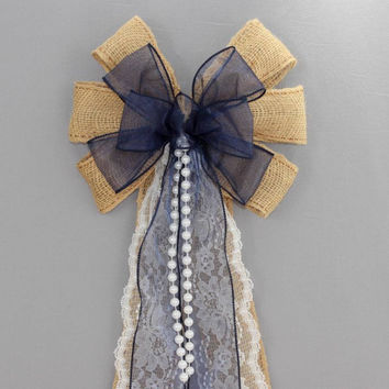 Navy Sheer Burlap Lace Pearl Wedding Pew Bow