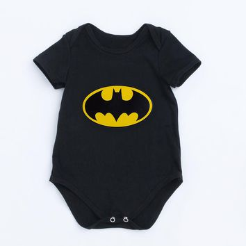 YK&Loving Batman Black Newborn Baby Boy Rompers Baby Clothes Cute Superman Short Sleeve Jumpsuit New Arrival Girls Outfits Set
