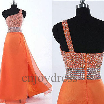 Custom Orange Beaded One Shoulder Long Prom Dresses Formal Evening Gowns Wedding Party Dresses Formal Party Dresses Bridesmaid Dresses 2014