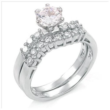 Sterling Silver .85 carat Round Cut CZ Modern Curved Band Wedding Ring Set size 5-9