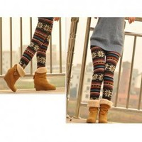 Korean Style Snowflake Pattern Printed Nine-Cent Leggings For Female China Wholesale - Everbuying.com