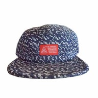 FAZE Knitted 5-Panel Hat in navy and white