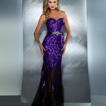 Mac Duggal 2013 Prom Dresses - Purple Strapless Sequin Dress with Rhinestones