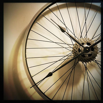 Bicycle Wheel Clock, Large Wall Clock, Bike Gift For Men, Cyclist Gift, Steampunk Wall Clock, Industrial Decor, Unique Wedding Gift