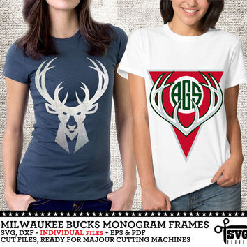 Milwaukee Bucks Monogram Frames. Vector Digital Cut Files. SVG, dxf, eps, pdf for Silhouette, Cricut, SCAL yeti vinyl Die Cutting CF-39